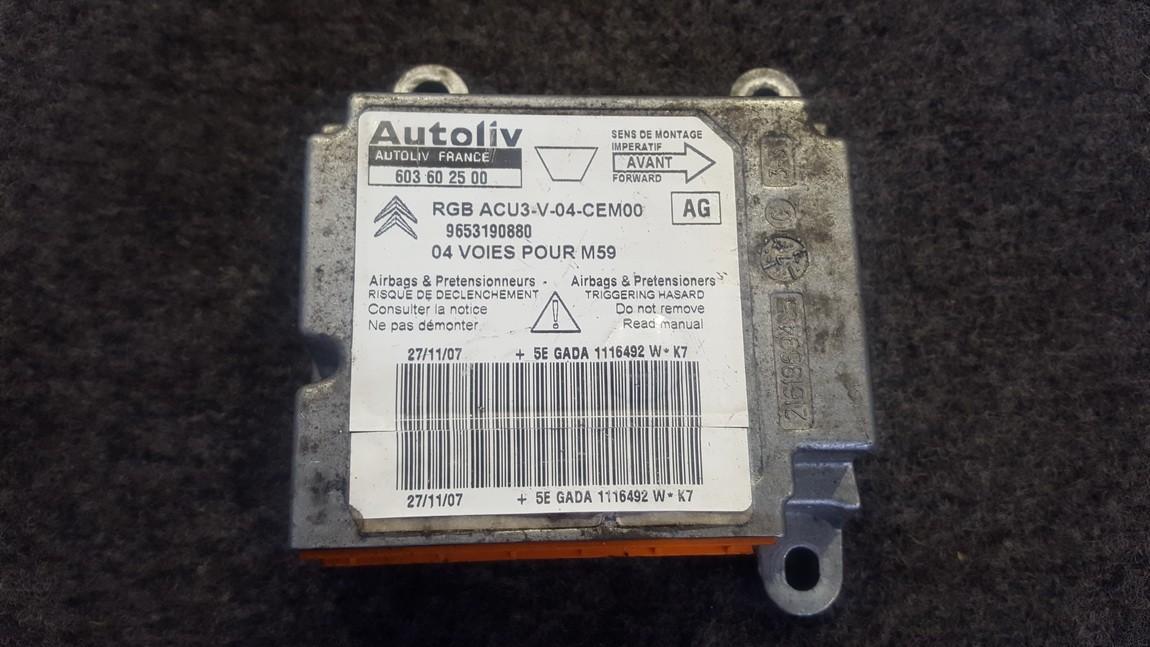 SRS AIRBAG KOMPIUTERIS - ORO PAGALVIU VALDYMO BLOKAS 603602500 603 60 25 00, RGB ACU3-V-04-CEM00, 9653190880 Peugeot PARTNER 2004 2.0