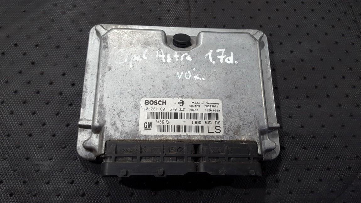 Variklio kompiuteris GM90589736 0281001670, 98, 28SA3671, 11200309 Opel ASTRA 2002 1.7