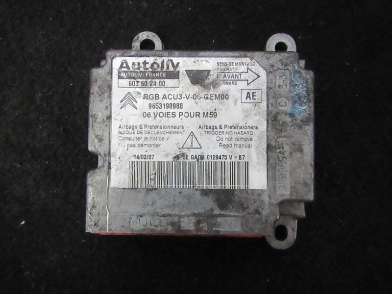 Airbag crash sensors module 9653190980 603602400 Peugeot PARTNER 2005 2.0