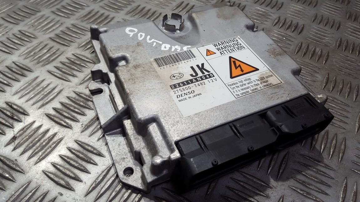 Блок управления двигателем 22611AN040 275800-7492, 2758007492 Subaru OUTBACK 2005 2.5