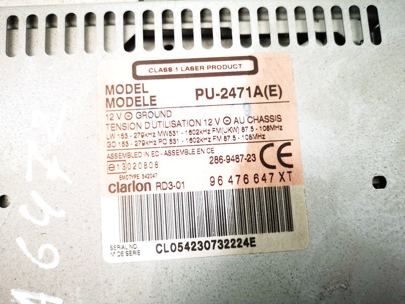 Autoradio Citroen C3 2004    1.6 96476647xt